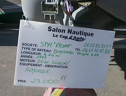 Pneuboat reportage salon nautique du cap d 39 agde 2001 for Salon nautique agde